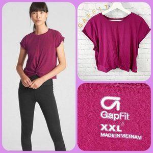 GAP GapFit Twist-Front Crop Short Sleeve T-Shirt